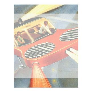 Vintage Science Fiction Futuristic Flying Car Flyer
