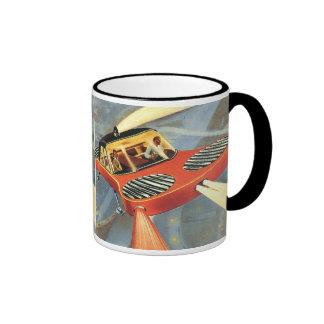 Vintage Science Fiction Futuristic Flying Car Ringer Mug