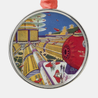 Vintage Science Fiction, Futuristic New York City Christmas Ornament