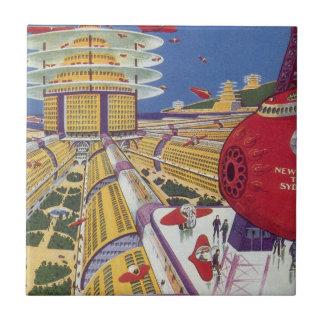 Vintage Science Fiction, Futuristic New York City Tile