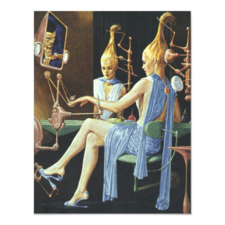 Vintage Science Fiction Girl's Night Out Spa Party 11 Cm X 14 Cm Invitation Card