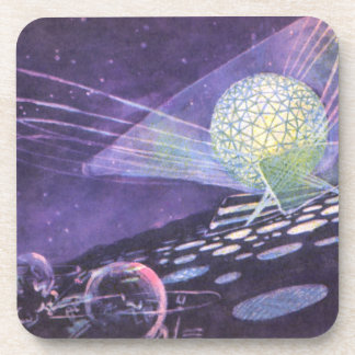 Vintage Science Fiction Glowing Orb with Aliens Beverage Coasters