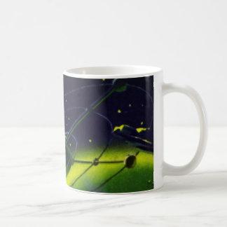 Vintage Science Fiction Green Planet w Spaceship Basic White Mug