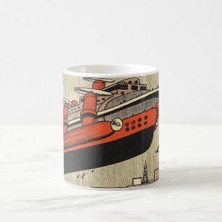 Vintage Science Fiction Helicopter Cruise Ship Basic White Mug