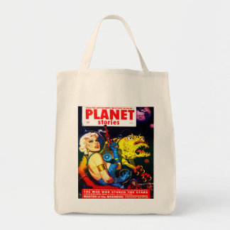 VINTAGE SCIENCE FICTION MAGAZINE COVER Grocery Tote Bag