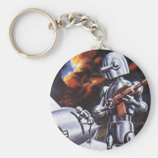 Vintage Science Fiction Military Robot Soldiers Basic Round Button Key Ring