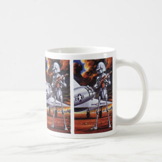 Vintage Science Fiction Military Robot Soldiers Basic White Mug