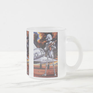 Vintage Science Fiction Military Robot Soldiers Frosted Glass Mug