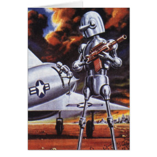 Vintage Science Fiction Military Robot Soldiers Greeting Card