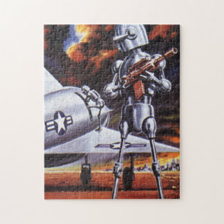 Vintage Science Fiction Military Robot Soldiers Puzzle
