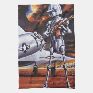 Vintage Science Fiction Military Robot Soldiers Tea Towel