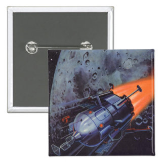 Vintage Science Fiction, Moon Rocket Blasting Off 15 Cm Square Badge