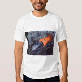 Vintage Science Fiction, Moon Rocket Blasting Off Tee Shirt