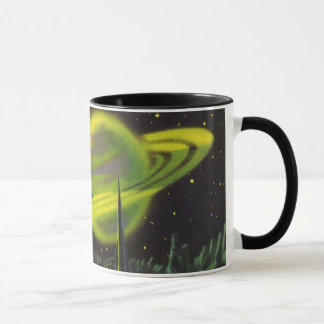 Vintage Science Fiction Neon Green Planet w Rings