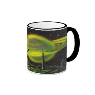 Vintage Science Fiction Neon Green Planet w Rings Ringer Mug