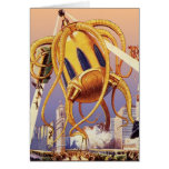 Vintage Science Fiction Octopus Alien Invasion War Greeting Cards