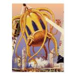 Vintage Science Fiction Octopus Alien Invasion War Post Card