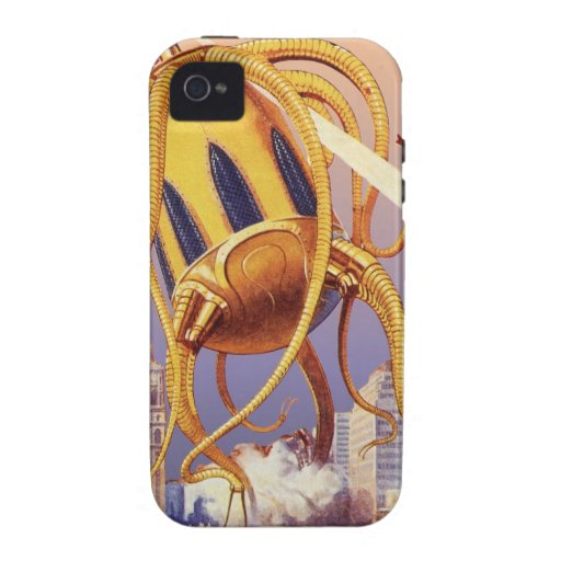 Vintage Science Fiction Octopus Alien War Invasion iPhone 4/4S Covers