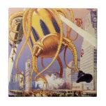 Vintage Science Fiction Octopus Alien War Invasion Tiles