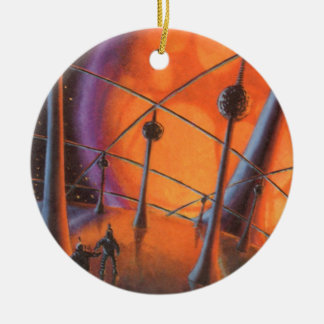 Vintage Science Fiction, Orange Sun and Aliens Christmas Ornament