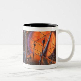 Vintage Science Fiction, Orange Sun and Aliens Two-Tone Mug