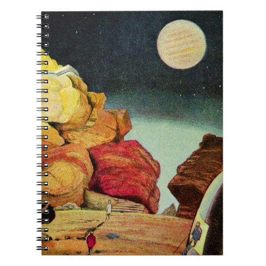 Vintage Science Fiction Quarry Planet Travelers Spiral Notebook