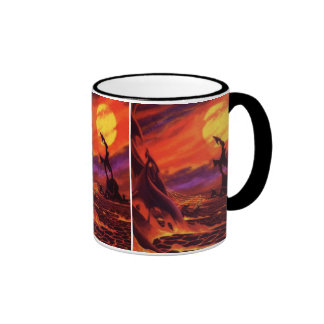Vintage Science Fiction Red Lava Volcano Planet Ringer Mug