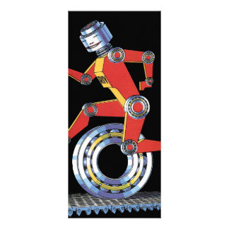 Vintage Science Fiction Robot, Machine Man Running Personalized Rack Card
