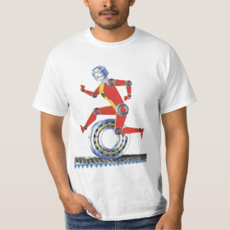 Vintage Science Fiction Robot Running with Wheel T-Shirt