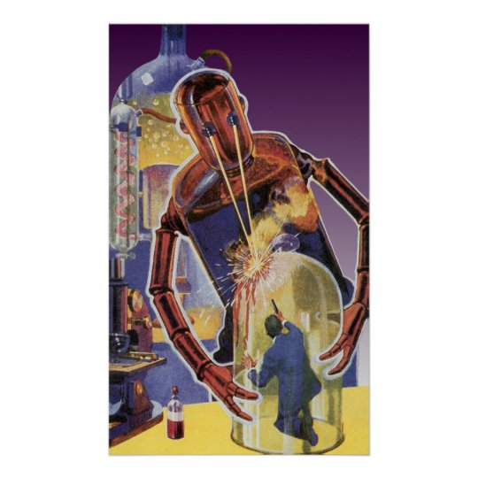 Vintage Science Fiction Robot with Laser Beam Eyes Poster