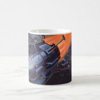 Vintage Science Fiction, Rocket Blasting Off Moon Basic White Mug