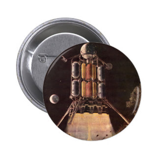 Vintage Science Fiction Rocket Blasting Off Planet 6 Cm Round Badge