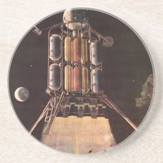 Vintage Science Fiction Rocket Blasting Off Planet Drink Coaster