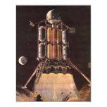 Vintage Science Fiction Rocket Blasting Off Planet Personalized Announcements
