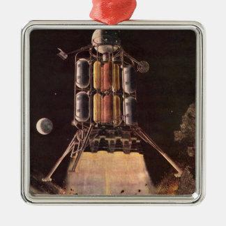 Vintage Science Fiction Rocket Blasting Off Planet Silver-Colored Square Decoration