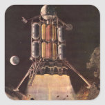 Vintage Science Fiction Rocket Blasting Off Planet Square Stickers