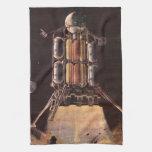 Vintage Science Fiction Rocket Blasting Off Planet Kitchen Towels