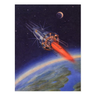 Vintage Science Fiction Rocket in Space over Earth Postcard