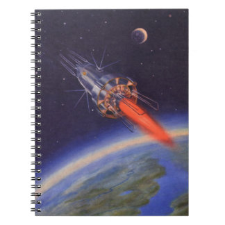 Vintage Science Fiction Rocket in Space over Earth Spiral Notebook