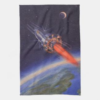 Vintage Science Fiction Rocket in Space over Earth Tea Towel