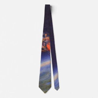 Vintage Science Fiction Rocket in Space over Earth Tie