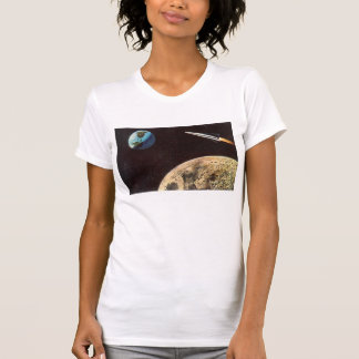 Vintage Science Fiction Rocket Over the Moon Earth Shirts