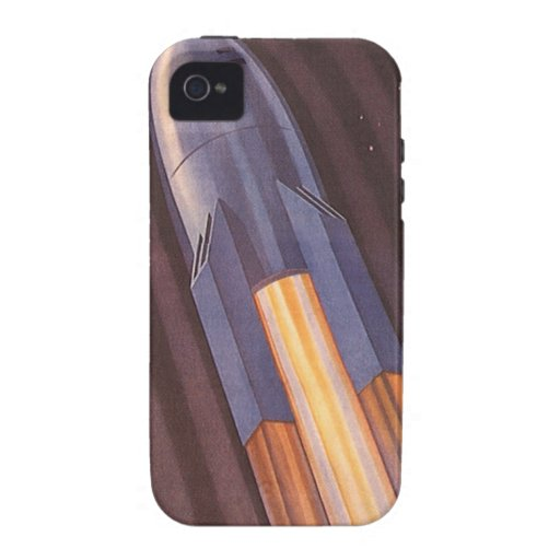 Vintage Science Fiction Rocket Ship in Space Case For The iPhone 4