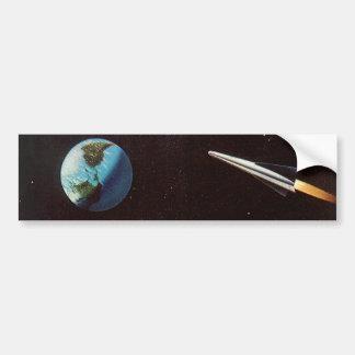 Vintage Science Fiction, Rocket Ship Over the Moon Bumper Sticker