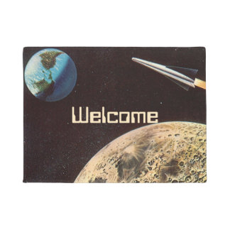 Vintage Science Fiction, Rocket Ship Over the Moon Doormat