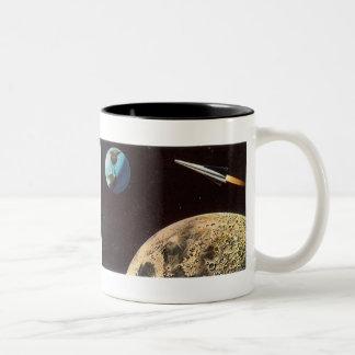 Vintage Science Fiction, Rocket Ship Over the Moon Two-Tone Mug
