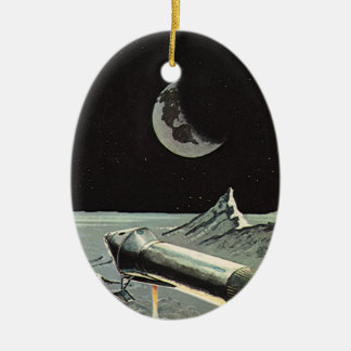 Vintage Science Fiction, Rocket Ships Moon Planets Ceramic Oval Decoration