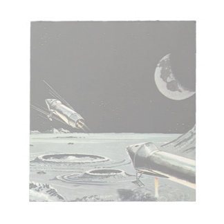 Vintage Science Fiction, Rocket Ships Moon Planets Notepad