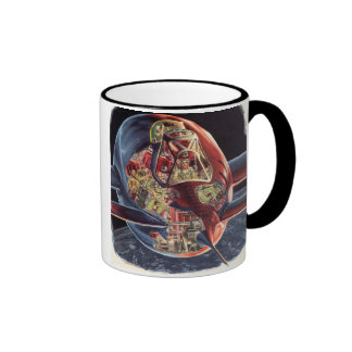 Vintage Science Fiction Rocket Spaceship Astronaut Ringer Mug
