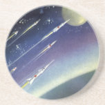 Vintage Science Fiction Rockets in Space by Planet Beverage Coasters